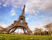 Paris. Wonderful wide angle view of Eiffel Tower — Stock Photo