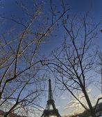Paris'te seine eyfel kulesi ile teknede yaşayan panoramik manzaralı — Stok fotoğraf