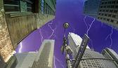 Fisheye view of Manhattan Skyscrapers in New York — Stock Photo