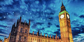 Big Ben and House of Parliament at dusk from Westminster Bridge — Stock Photo