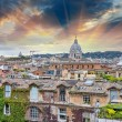 Wonderful view of Rome at sunset with St Peter Cathedral — Stock Photo
