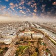 Wonderful aerial view of Paris from the top of Eiffel Tower - Wi - Stock Photo
