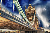 Storm over Tower Bridge at night - London — Stock Photo