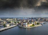 Stockholm, i̇sveç. eski şehrin havadan görünümü (gamla stan). — Stok fotoğraf