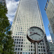 Stock Photo: Canary Wharf financial district buildings in London.