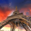 Paris - La Tour Eiffel. Wonderful sunset colors in winter season - Stock Photo