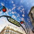 Paris. Underground Metro sign with buildings and sunset colors - Stock Photo