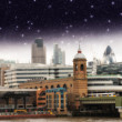 Stars over City of London, financial center and Canary Wharf at - Stock Photo