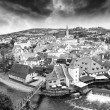 Cesky Krumlov aerial view with medievalo architecture and Vltava - Stock Photo