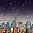 Wonderful view of Manhattan Skyscrapers with beautiful night sky — ストック写真