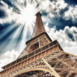 Wonderful sky colors above Eiffel Tower. La Tour Eiffel in Paris — Stock Photo #19447815