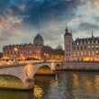 Stock Photo: Beautiful colors of Napoleon Bridge at dusk with Seine river - P