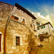 Typical Ancient Homes of a Medieval Town in Tuscany - Stock Photo