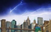 Storm on Lower Manhattan Skyline and tall Skyscrapers - New York — Stock Photo