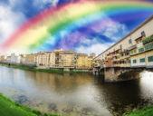 Rainbow in Ponte Vecchio, Florence — Stock Photo