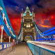 Storm over Tower Bridge at night - London - Stock Photo