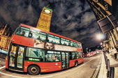 LONDON - SEP 28:Classic Routemaster double decker bus speeds up — Stock Photo