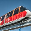 SYDNEY - JUN 22: A monorail runs above the public street in city - Stock Photo