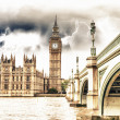 Stock Photo: Landscape of Big Ben and Palace of Westminster with Bridge and T