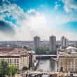 Aerial view of Berlin and Spree River in a beautiful summer day - Stock Photo