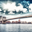 Amazing New York Cityscape - Skyscrapers and Brooklyn Bridge at — Stock Photo