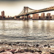 Amazing sunset colors over New York Cityscape and Brooklyn Bridg — Stock Photo #21240497