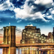 Amazing New York Cityscape - Skyscrapers and Brooklyn Bridge at — Stock Photo #21240615