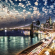 Amazing night in New York City - Manhattan Skyline and Brooklyn  — Foto Stock