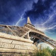 Stock Photo: Paris - Eiffel Tower. Thunderstorm approaching city
