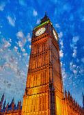 The Big Ben with wonderful sky colors - London — Stock Photo