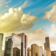 Beautiful view of Chicago Skyline with dramatic sky — Stock Photo #21341543