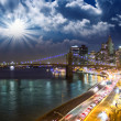Amazing New York Cityscape - Skyscrapers and Brooklyn Bridge at  — Stok fotoğraf