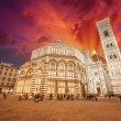 Florence. Wonderful sky colors in Piazza del Duomo - Firenze - Stock fotografie