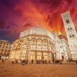 Florence. Wonderful sky colors in Piazza del Duomo - Firenze - 图库照片