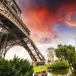 Stock Photo: Beautiful sunset colors of Eiffel Tower with its magnificence -