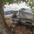 Stock Photo: Car wreck off road after fatal accident