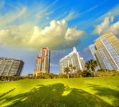 Modern skyscrapers in Miami - Beautiful view of South Pointe — Stock Photo