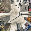 Stock Photo: NEW YORK CITY - MAR 2: Giant skyscrapers dominate city streets,