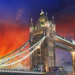 London, The Tower Bridge lights show at sunset — Stock Photo #22999826