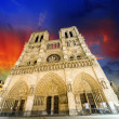 Notre Dame Cathedral - Paris. Wonderful winter sky — Stock Photo