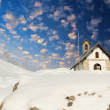 Small Church on Italian Alps in Winter, Beautiful sky colors — Stock Photo
