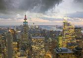 Illuminated Buildings in the Night, New York City — Photo