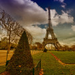 Eiffel Tower from Champs de Mars Gardens.  — Stock Photo
