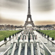 Stock Photo: Paris, France. Winter sunset on Eiffel Tower. La Tour Eiffel.