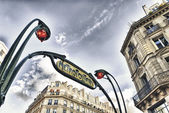 PARIS - NOV 29: Beautiful metro sign outside a station — Stock Photo