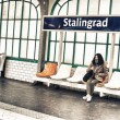 Wait for a train in Stalingrad metro station — Stock Photo