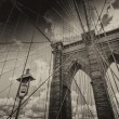 Brooklyn Bridge, New York City. Upward view with beautiful sky — Stock Photo #23547805