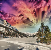 Beautiful colors of Dolomites Landscape in Winter — Stock Photo