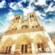 Notre Dame Cathedral - Paris. Wonderful winter sky - 图库照片