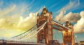London, The Tower Bridge lights show at sunset — Foto Stock